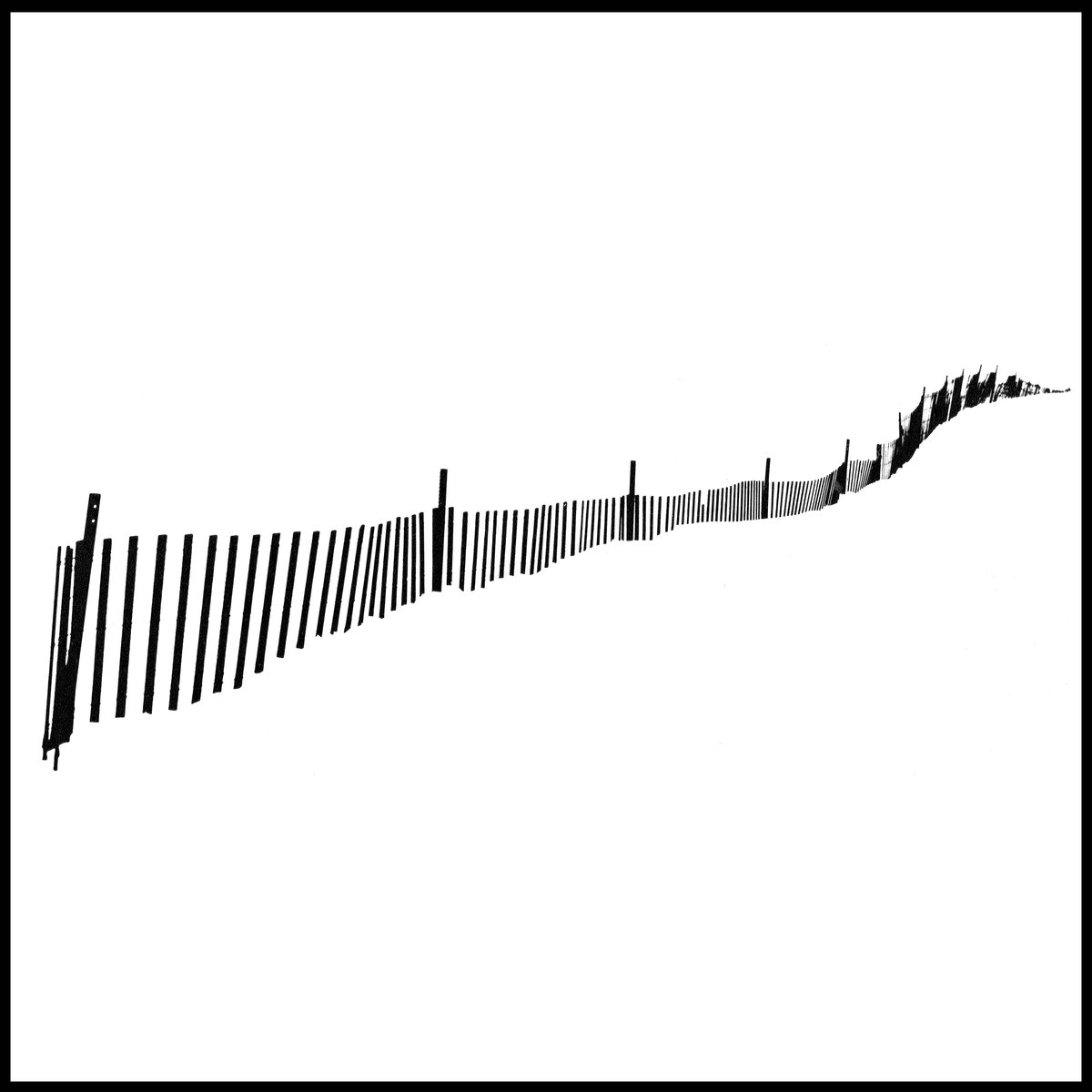 winter pattern album art is a black and white high exposure image of a fence on a beach